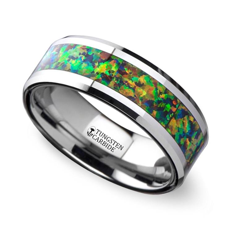 Irradiated - Blue & Orange Opal Inlay Men's Wedding Ring in Tungsten | 01