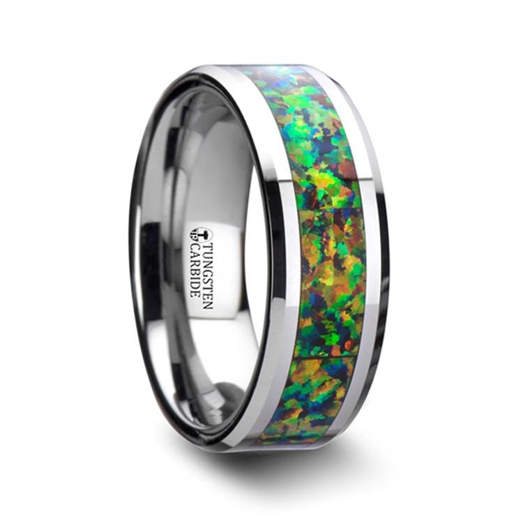 Irradiated - Blue & Orange Opal Inlay Men's Wedding Ring in Tungsten | 02