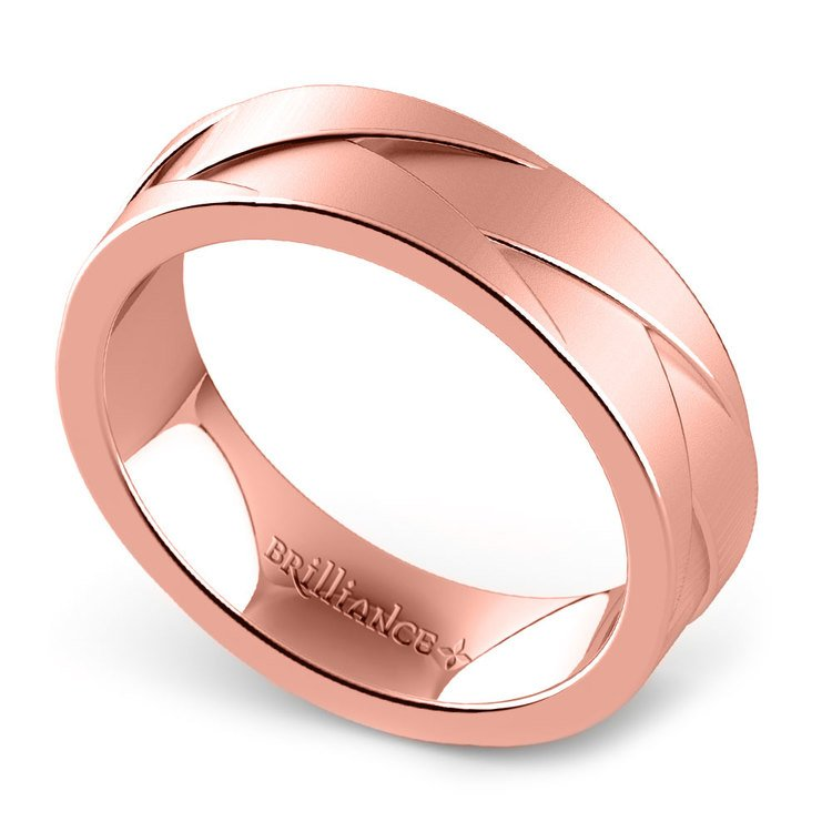 Crossover - Braided Rose Gold Mens Wedding Ring | 01