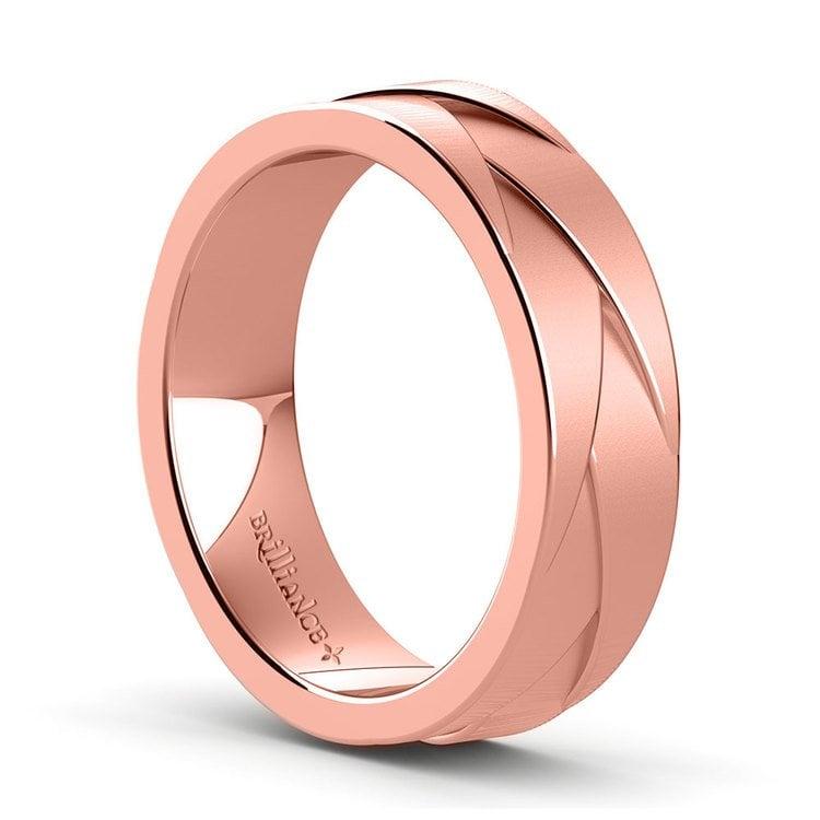 Crossover - Braided Rose Gold Mens Wedding Ring | 02