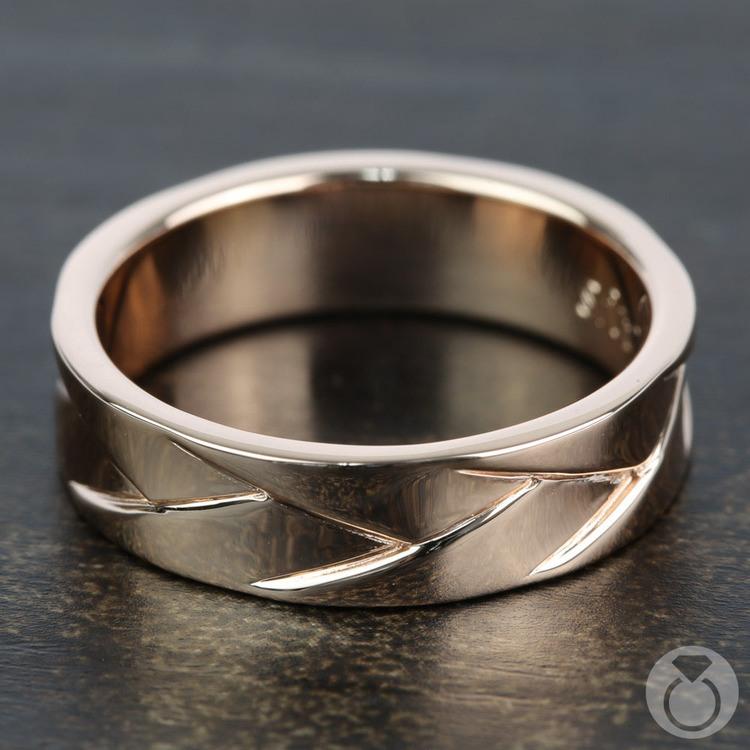 Crossover - Braided Rose Gold Mens Wedding Ring | 03