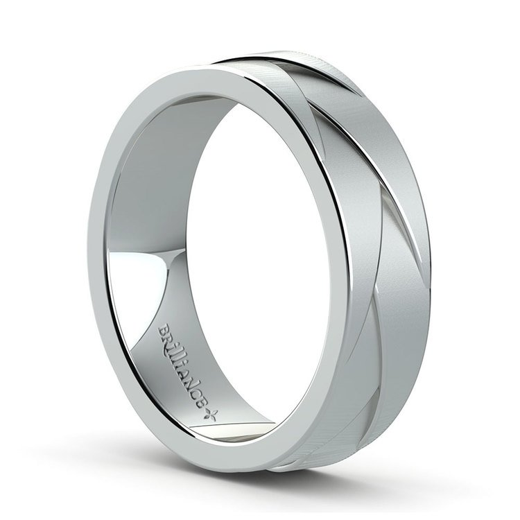 Braided Men's Wedding Ring in White Gold | 02
