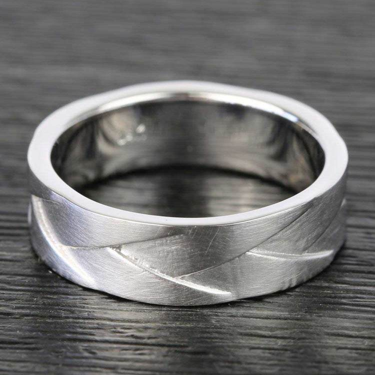 Braided Men's Wedding Ring in White Gold | 03