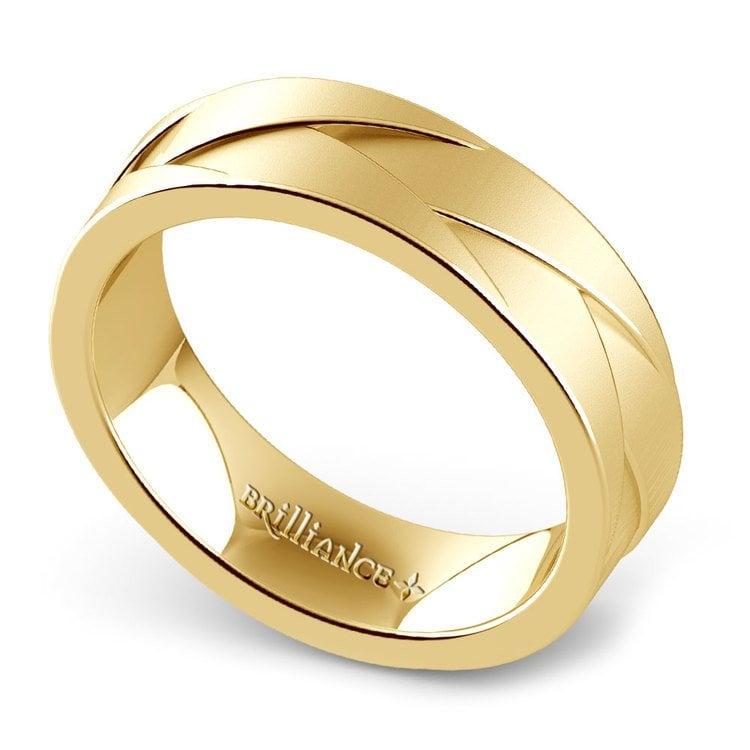 Braided Men's Wedding Ring in Yellow Gold   01