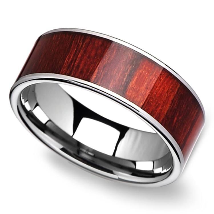 Brazilian Rosewood Inlay Men's Ring in Tungsten | 01