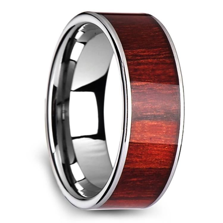 Brazilian Rosewood Inlay Men's Ring in Tungsten | 02