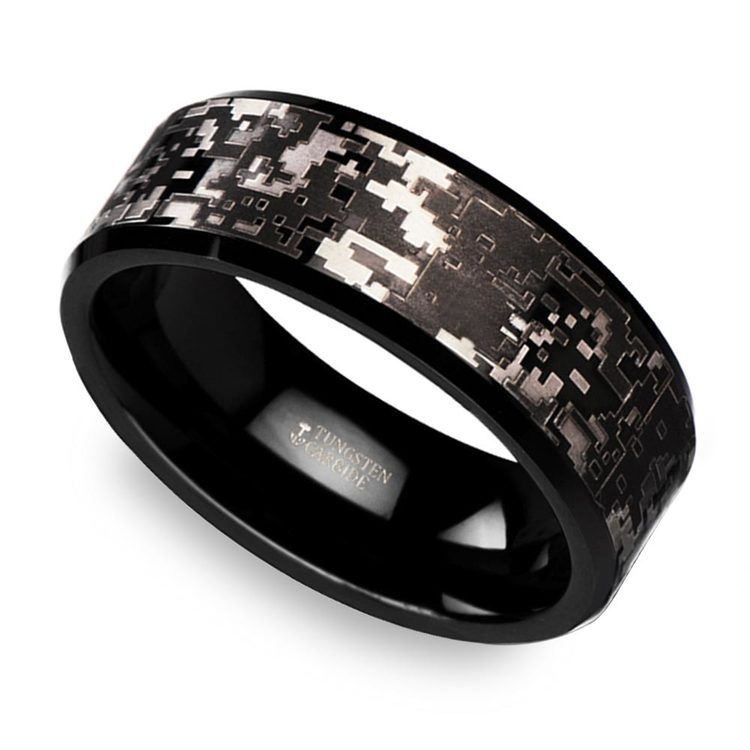 Digital camo men39s wedding ring in tungsten for Tungsten camo wedding rings