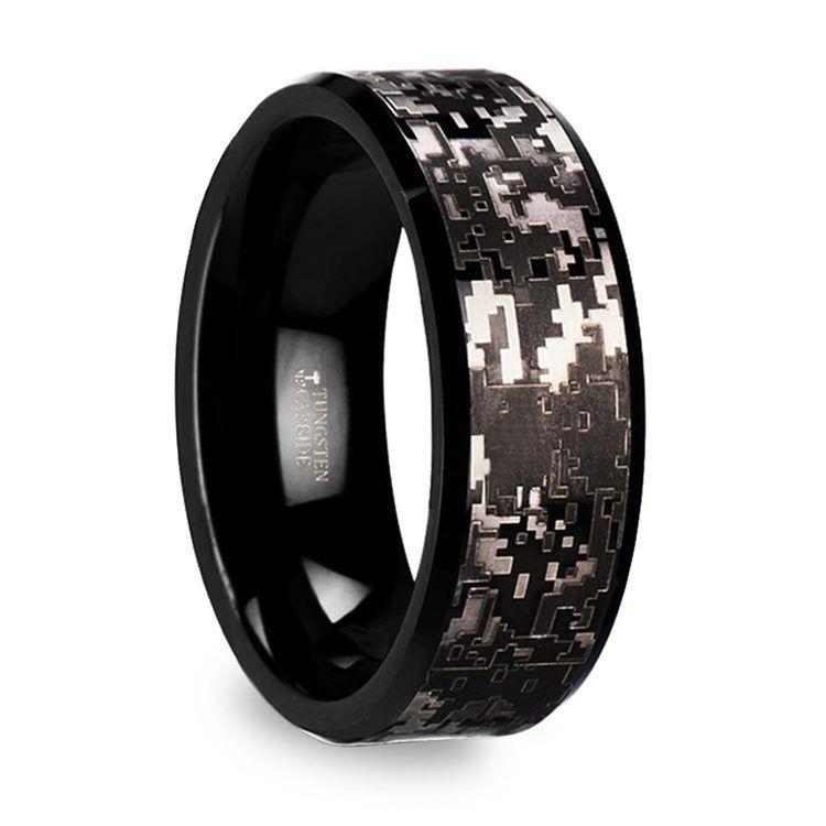 Digital Camo Men's Wedding Ring in Tungsten | 02