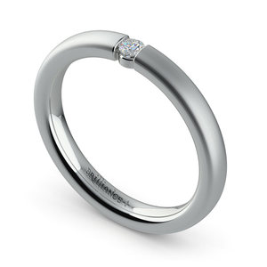 Brushed Promise Ring with Round Diamond in White Gold (2.75mm)