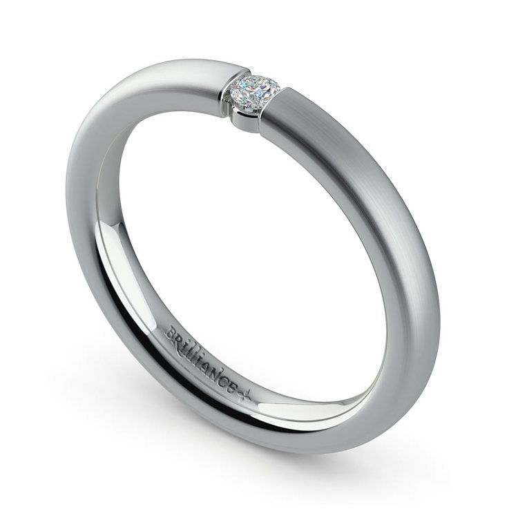 Brushed Promise Ring with Round Diamond in White Gold (2.75mm) | 01