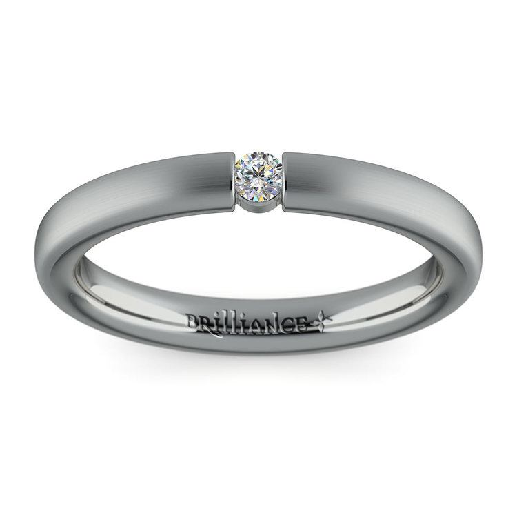 Brushed Promise Ring with Round Diamond in White Gold (2.75mm) | 02