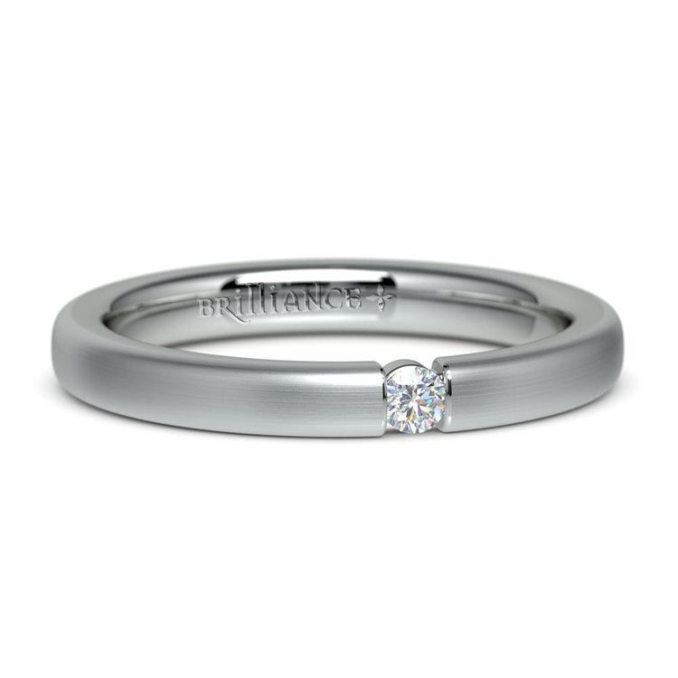 Brushed Promise Ring with Round Diamond in White Gold (2.75mm) | 04
