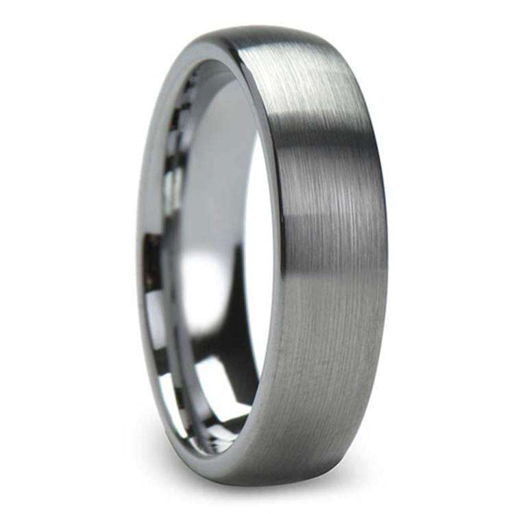 Brushed Finish and Rounded Carbide Men's Tungsten Wedding Ring (6mm) | 02