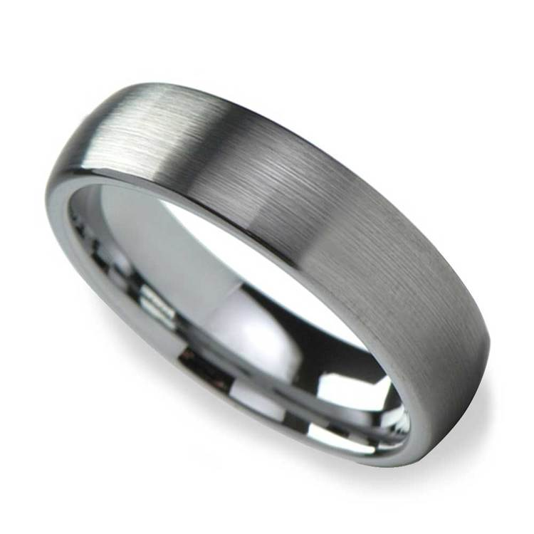 Brushed Finish and Rounded Carbide Men's Tungsten Wedding Ring (6mm) | 01
