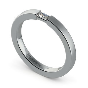 Brushed Promise Ring with Baguette Diamond in White Gold (2.5mm)