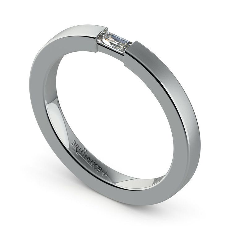 Brushed Promise Ring with Baguette Diamond in White Gold (2.5mm) | 01