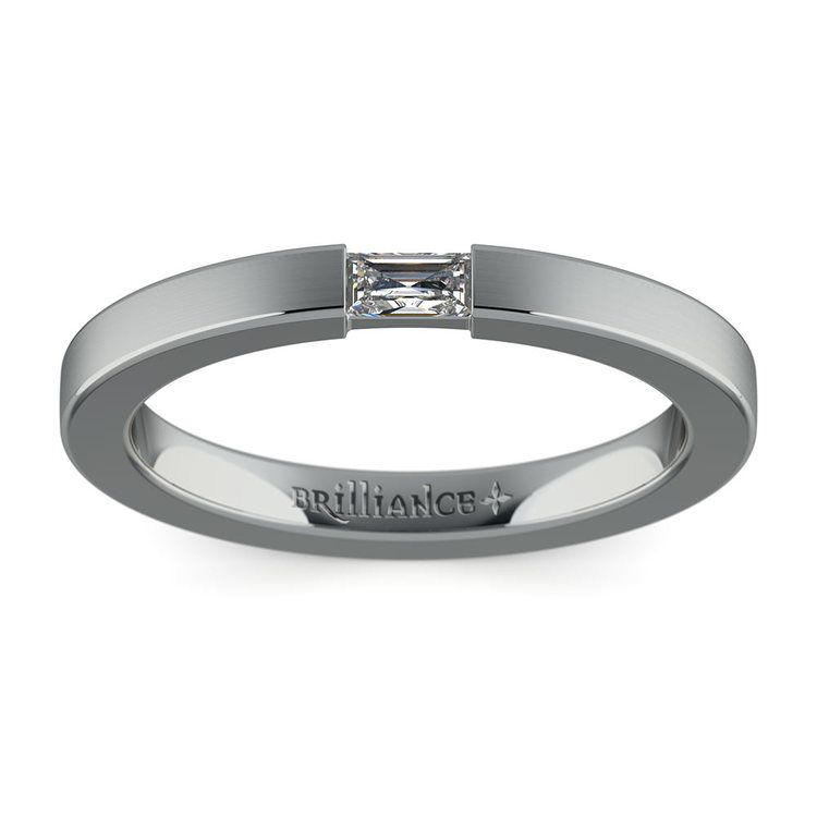 Brushed Promise Ring with Baguette Diamond in White Gold (2.5mm) | 02