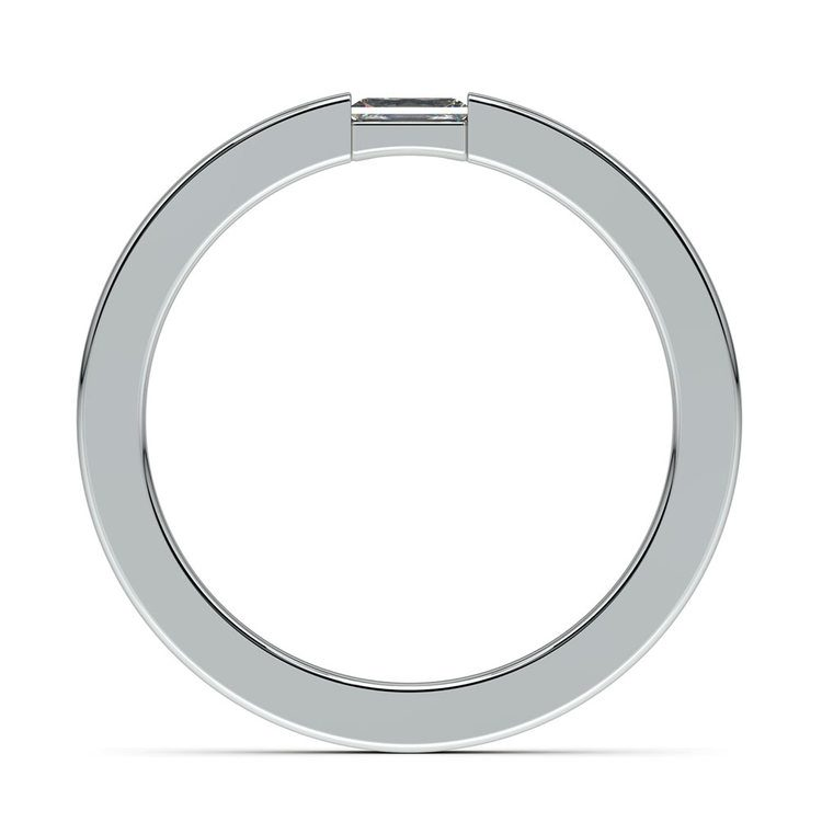 Brushed Promise Ring with Baguette Diamond in White Gold (2.5mm) | 03