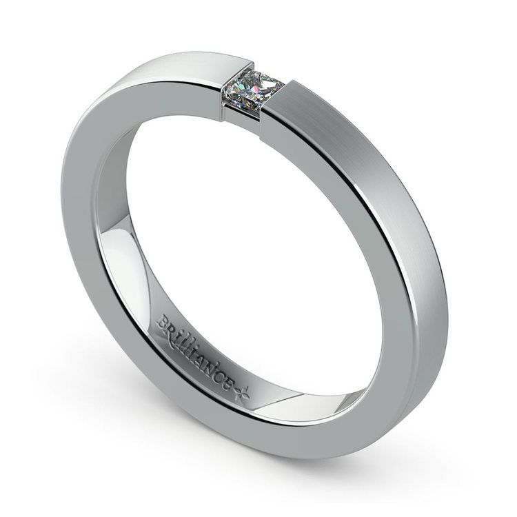 Brushed Promise Ring with Princess Diamond in White Gold (2.9mm) | 01