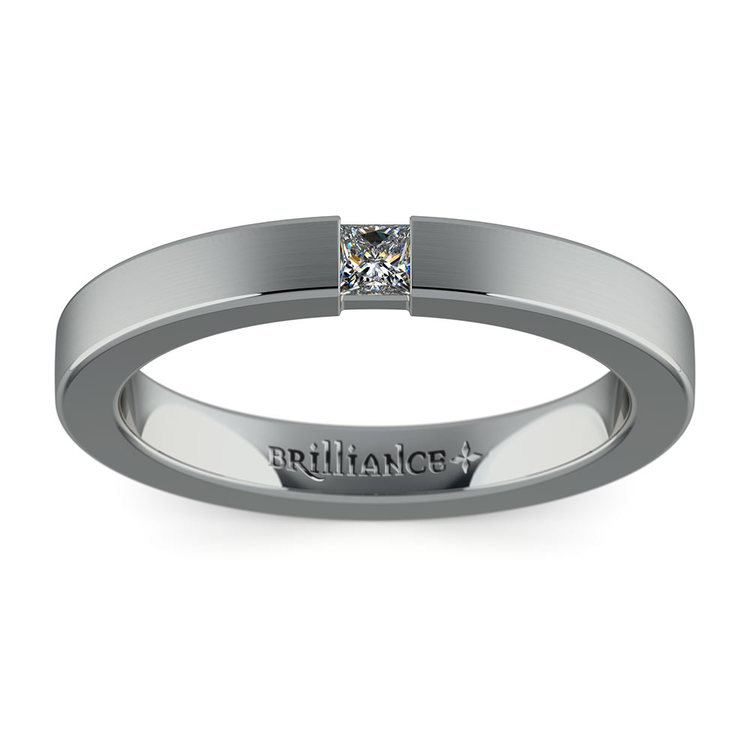 Brushed Promise Ring with Princess Diamond in White Gold (2.9mm) | 02