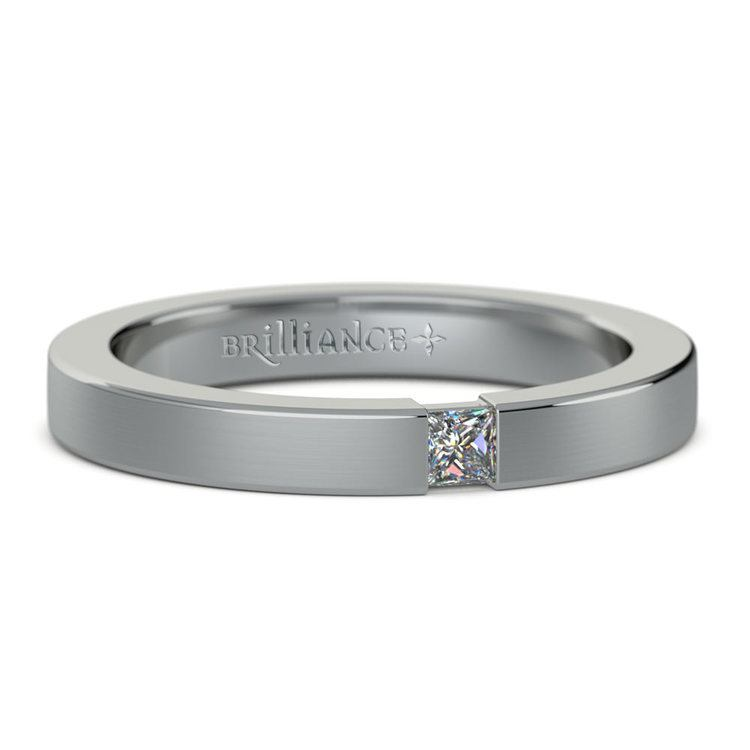 Brushed Promise Ring with Princess Diamond in White Gold (2.9mm) | 04
