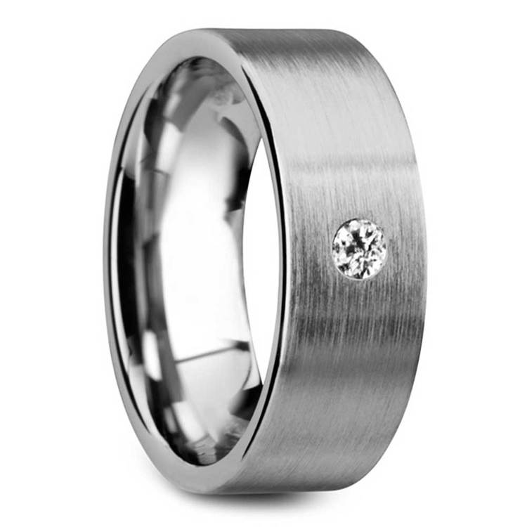 Monocle - Brushed Tungsten Mens Band with Inset Diamond | 02