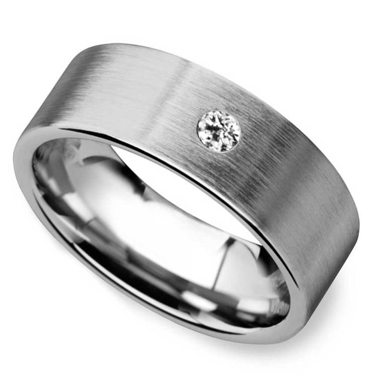 Monocle - Brushed Tungsten Mens Band with Inset Diamond | 01