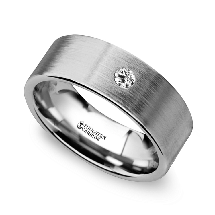 brushed inset s wedding ring in tungsten