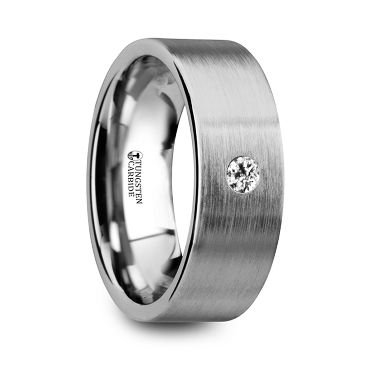 Brushed Inset Men's Diamond Wedding Ring in Tungsten | 02