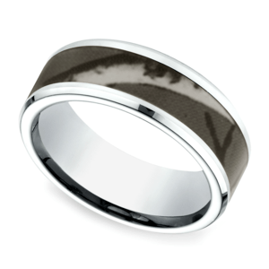 Camo Inlay Men's Wedding Ring in Cobalt