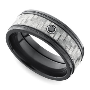 Carbon Fiber Men's Ring with Black Diamond in Zirconium