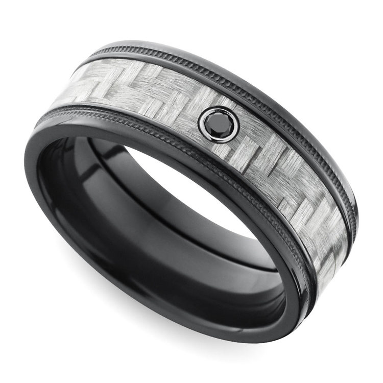 Carbon Fiber Men's Ring with Black Diamond in Zirconium | 01