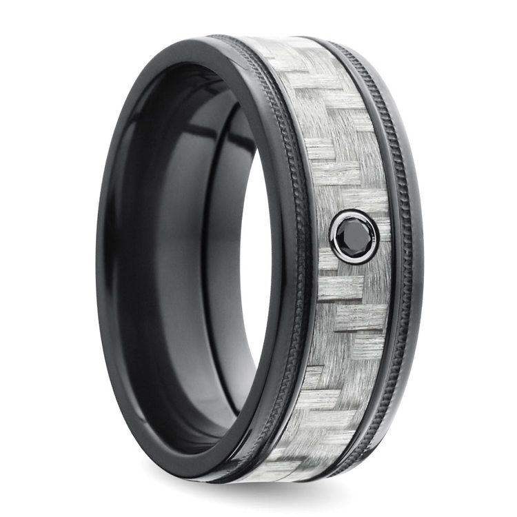Carbon Fiber Men's Ring with Black Diamond in Zirconium | 02