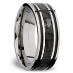 Carbon Fiber Inlay Men's Wedding Ring in 14K White Gold (8mm) | Thumbnail 02