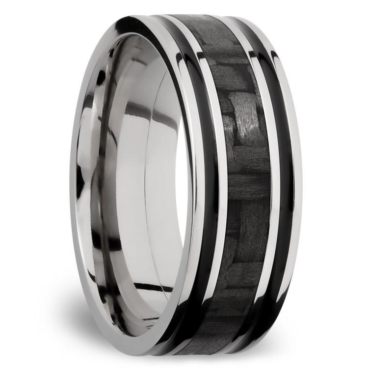 Carbon Fiber Inlay Men's Wedding Ring in 14K White Gold (8mm) | 02