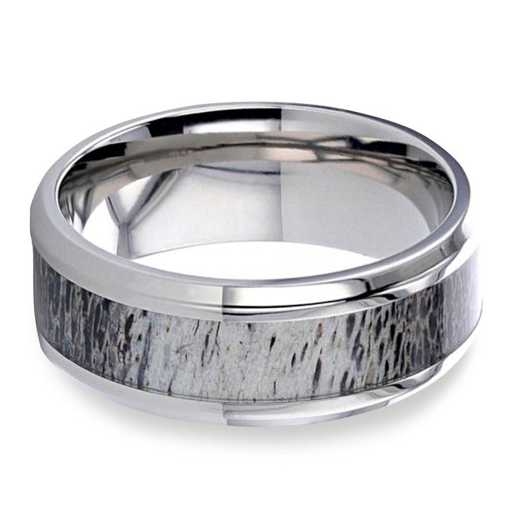 Caribou - Deer Antler Inlay Mens Ring | 03