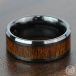 Carpathian Wood Inlay Men's Beveled Ring in Black Ceramic | Thumbnail 03