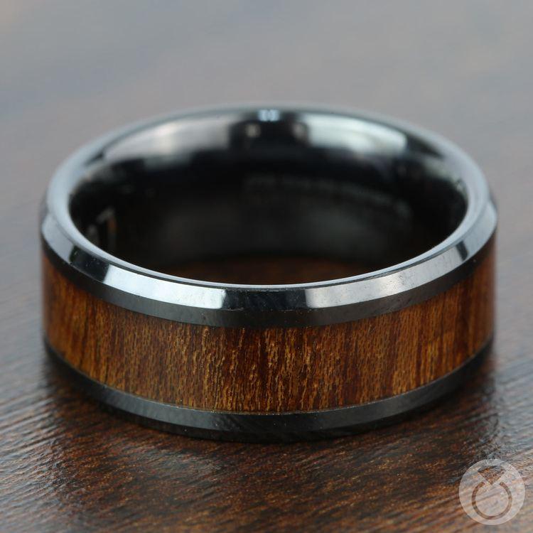 Carpathian Wood Inlay Men's Beveled Ring in Black Ceramic | 03