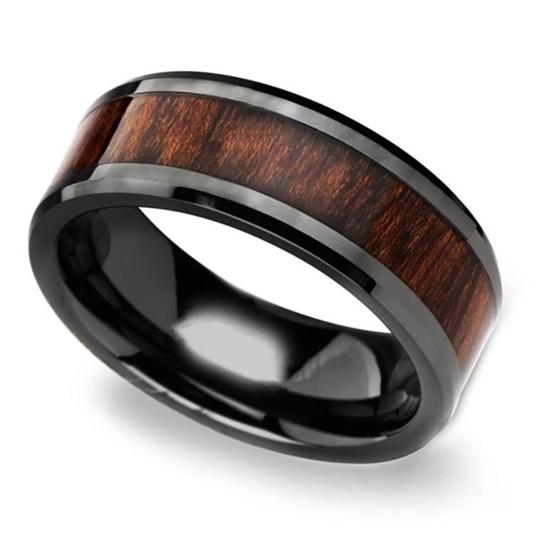 Carpathian Wood Inlay Men's Beveled Ring in Black Ceramic | 01