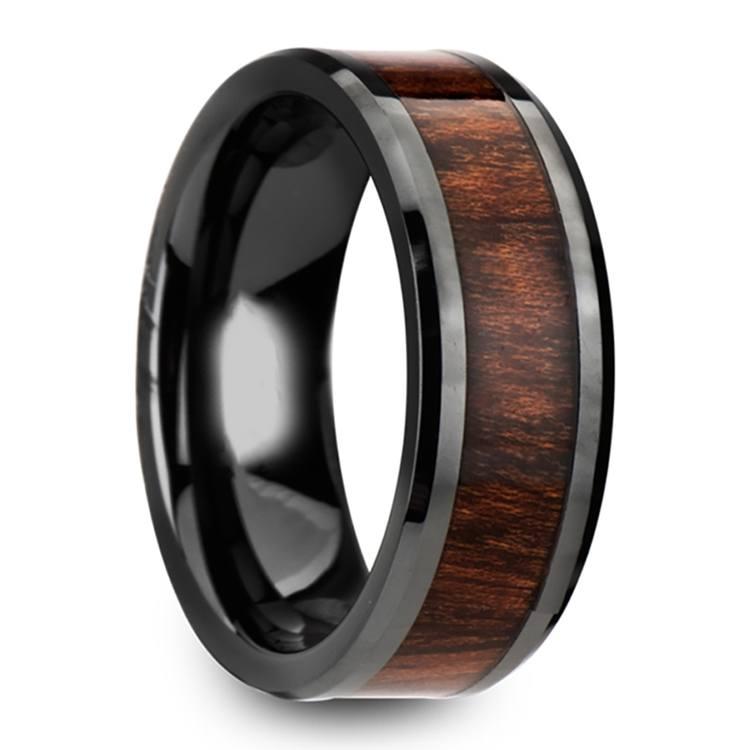 Carpathian Wood Inlay Men's Beveled Ring in Black Ceramic | 02