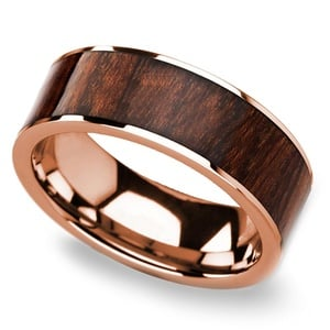 Naturalist - Rose Gold Mens Ring with Carpathian Wood Inlay