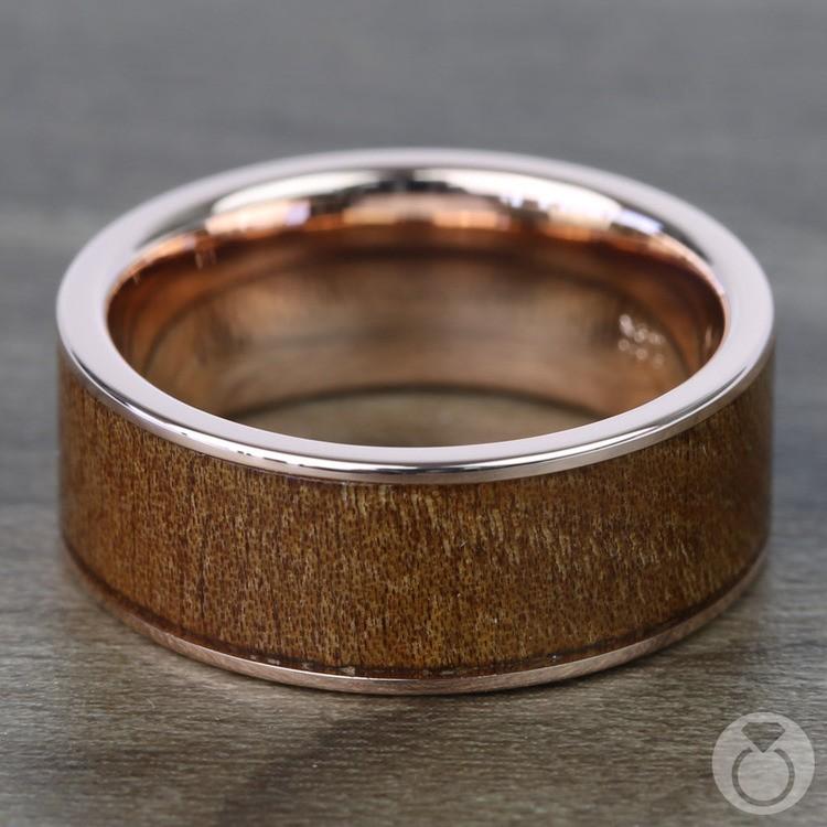 Naturalist - Rose Gold Mens Ring with Carpathian Wood Inlay | 03