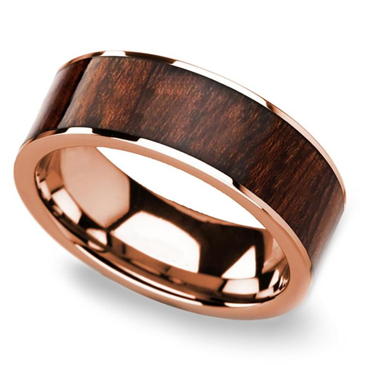 Carpathian Wood Inlay Mens Wedding Ring in Rose Gold