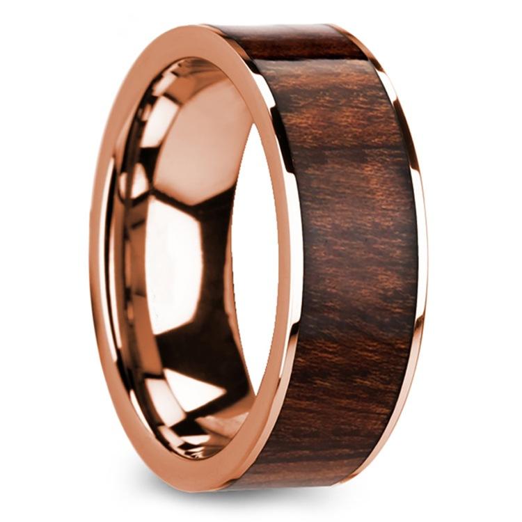 Naturalist - Rose Gold Mens Ring with Carpathian Wood Inlay | 02
