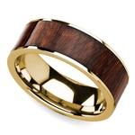 Carpathian Wood Inlay Men's Flat Wedding Ring in Yellow Gold | Thumbnail 01