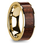 Carpathian Wood Inlay Men's Flat Wedding Ring in Yellow Gold | Thumbnail 02