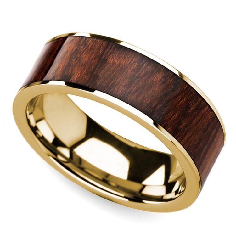 Carpathian Wood Inlay Men's Flat Wedding Ring in Yellow Gold | 01