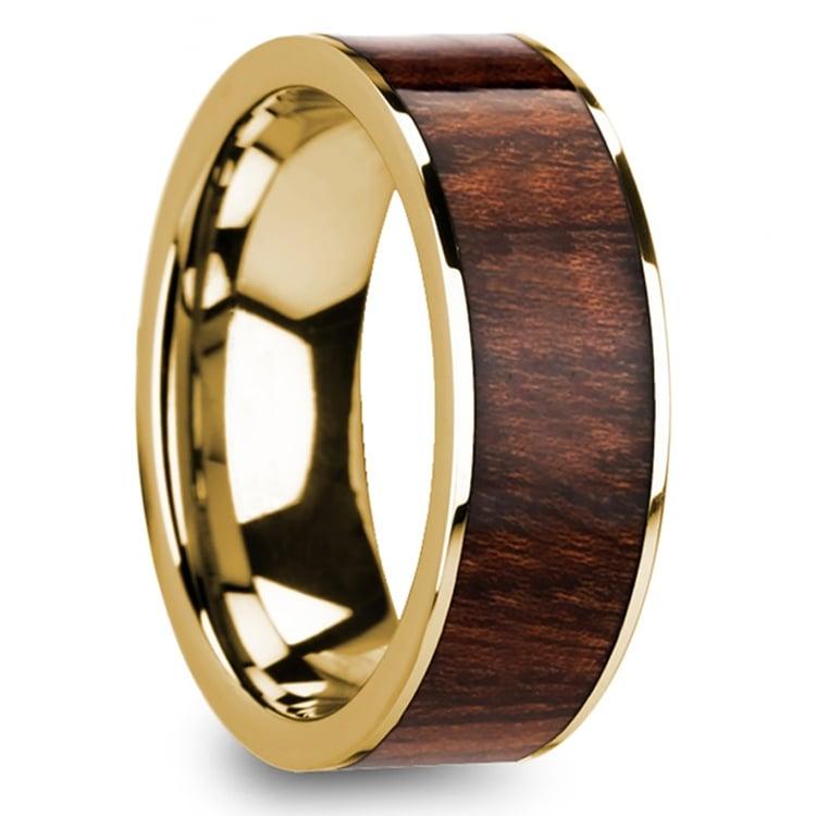 Carpathian Wood Inlay Men's Flat Wedding Ring in Yellow Gold | 02