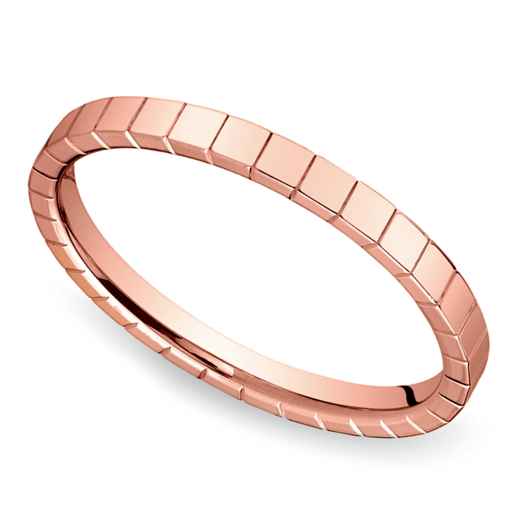 Carved Wedding Ring in Rose Gold | 01
