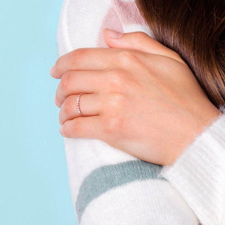 Carved Wedding Ring in Rose Gold   04